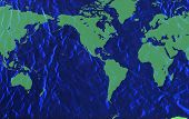 image of land-mass  - Textured world map with bright blue ocean and green land masses - JPG