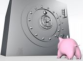 image of envy  - a bottom view of a pink piggy bank that is watching with envy or surprise a metal big safe with a rounded closed door - JPG