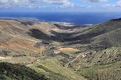 Valley And Coast Of Ocean,  Lanzarote, Canary Islands, Spain