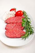 pic of shabu  - raw fresh Kobe Miyazaky beef with rosmary and marjoram - JPG