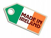 label with flag of Ireland