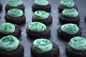 Mini Mint Frosted Chocolate Cookies