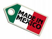 label with flag of Mexico