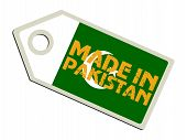 label with flag of Pakistan