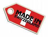label with flag of Switzerland