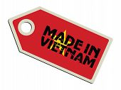 label with flag of Vietnam