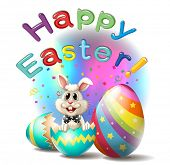 stock photo of oblong  - Illustration of a happy easter poster on a white background - JPG