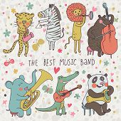 Animals - musicians. Leopard, zebra, panda, bear, lion, elephant, crocodile are playing on classical