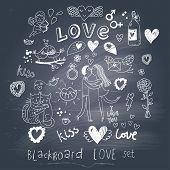 Blackboard romantic set in vector. Cartoon love symbols in vintage style