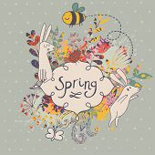 Spring concept background. Vintage floral background with bee and butterfly in cartoon style in vector