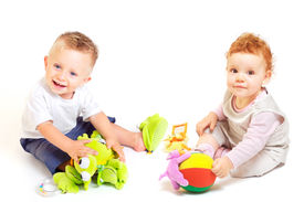 stock photo of children playing  - One year old babies  - JPG