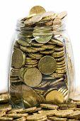 Glass Jar Full Of Twenty Euro Coins
