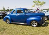 1940 Blue Ford Deluxe Car Side View