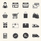 Shopping mall and delivery icons set on texture background