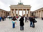 Tourists On Pariser Platz Near Brandenburg Gate