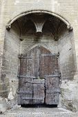 picture of avignon  - Main entry wooden gate of the Papal Palace in Avignon - JPG