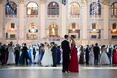 MOSCOW - MAY 25: Pairs in beautiful dress at 11th Viennese Ball in Gostiny Dvor on May 25, 2013 in M