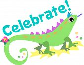 Celebrate With Green Lizard