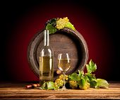 stock photo of keg  - Still life of wine with wooden keg - JPG