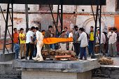 Human body cremation in Pashupatinath, Nepal