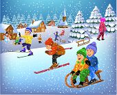 picture of sled  - children having fun in the winter season - JPG