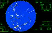 Modern Ship Radar Screen With Blue Round Map And Standard Green Text Labels