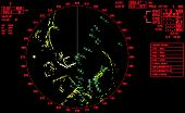 stock photo of sonar  - Black and red modern ship radar screen with round map and standard text labels - JPG