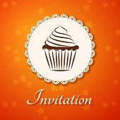 Invitation Applique Card / Background. Label With Cupcake On Flower Orange Background.
