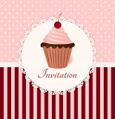 Vintage Vector Invitation Card With Cherry Cream Cake.