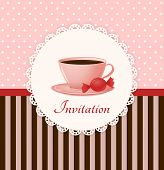 stock photo of recipe card  - Vintage vector invitation card with cup of hot drink and candy - JPG