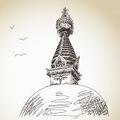 Hand drawn traditional buddhist stupa Nepal