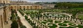 Wide Panorama Of Famous Versailles Orange Garden