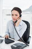 Portrait of an elegant businesswoman using land line phone at office desk
