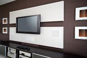 picture of home theater  - Modern Home Theater Room Interior with Flat Screen TV - JPG
