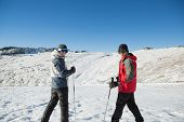 Rear view portrait of a smiling couple with ski poles on snow covered landscape