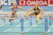 GOTHENBURG, SWEDEN - MARCH 1 Eline Berings (Belgium) places 3rd in heat 1 of the women's 60m hurdles