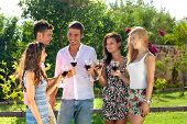 Attractive Young Teenagers Partying Outdoors