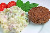 Potato Salad with Meat Ball, Tomatoes and Basil