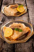 image of baklava  - Sweet baklava dessert on the metal plates - JPG