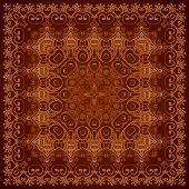 Vintage brown lacy ornate shawl vector pattern