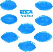 Blue vector marker leaf stains