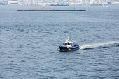 stock photo of nypd  - A New York City Police boat in New York harbor - JPG