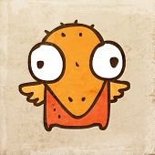 Cartoon Bird Chick. Cute Hand Drawn Vector illustration, Vintage Paper Texture Background