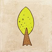Green Tree. Cute Hand Drawn Vector illustration, Vintage Paper Texture Background