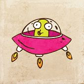 Alien in a Flying Saucer. Cute Hand Drawn Vector illustration, Vintage Paper Texture Background