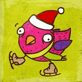 Bird with Santa Hat and Skates. Cute Hand Drawn Vector illustration, Vintage Paper Texture Backgroun