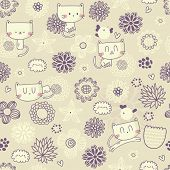 Vector cute seamless floral pattern with funny cats and birds