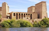 stock photo of isis  - Famous Philae Temple at Lake Nasser - JPG