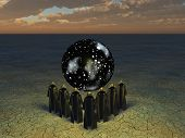 picture of cult  - Clocked figure shapes stand before sphere of space and stars - JPG