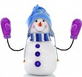 snowman toy with mittens isolated on white background